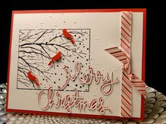 Card by [(dies) Impression Obsession Birch Trees, Simon Says Stamp Merry Christmas; Simple Christmas Cards, Christmas Bird, Christmas Paper, Xmas Cards, Christmas Greetings, Handmade Christmas, Holiday Cards, Merry Christmas, Cool Cards