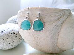 Mint Earrings,Silver Mint Earrings,Silver Earrings,Mint Gemstone Earrings,Ocean Blue,Beach Wedding,Bridesmaid Earrings,Wedding,Blue Mint by LetItBeLove on Etsy