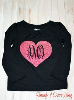 Valentines Day Monogram Tee - Simply {Darr}ling