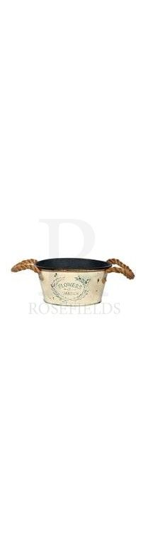 Small Cream Tin Planter With Rope Handle @ rosefields.co.uk