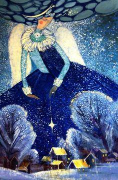Лемешева Екатерина Illustrations, Illustration Art, Angel Artwork, Christian Artwork, Mystique, Winter Art, Naive Art, Whimsical Art, Conte