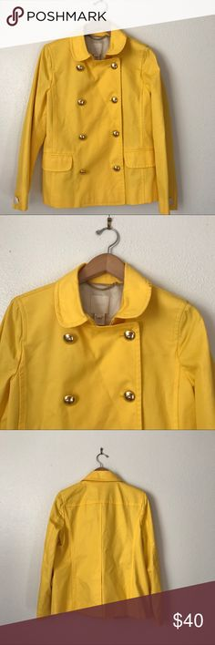 """NWOT J Crew Trudy lemon yellow Peacoat Trench SZ8 New without tag J Crew Trudy Peacoat Trench short lemon yellow size 8 . Gold buttons , button cover removed to take pictures .Fabric : Cotton lining Acetate . Approximate measurements: Armpit to armpit.19"""" Length 25.3"""" please feel free to ask questions pertaining to item before purchase. Thanks 😊 J. Crew Jackets & Coats Trench Coats"""