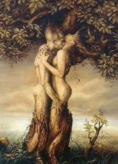 Two lovers create and become their own tree of life. Incredible art.
