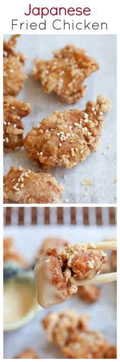 Crispy, juicy, and CRAZY DELICIOUS Japanese fried chicken recipe, with miso mayonnaise dip   http://rasamalaysia.com