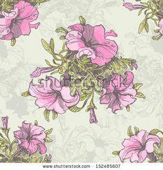 Hand drawn garden flowers seamless pattern in retro style. Vintage floral background by Annareichel, via Shutterstock