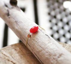 """★ Bracelet """"Belang"""" rouge / plaqué or"""