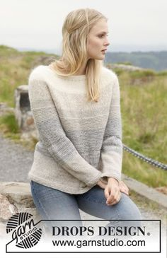 """Morning Mist Sweater - Strikket DROPS genser med striper i """"Alpaca"""" og """"Kid-Silk"""". Str S - XXXL - Gratis oppskrift by DROPS Design"""