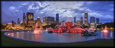 Chicago Blackhawks skyline...Buckingham Fountain lit red for the first time in history    photo by IC360