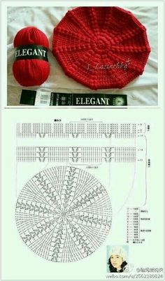 Crochet Beret - Chart by TamidP Crochet Beret Pattern, Bonnet Crochet, Crochet Cap, Crochet Diagram, Crochet Beanie, Love Crochet, Crochet Shawl, Crochet Stitches, Knitted Hats