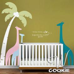 Palm Tree and Giraffes - Nursery, Kids Wall Decal. $115.00, via Etsy.