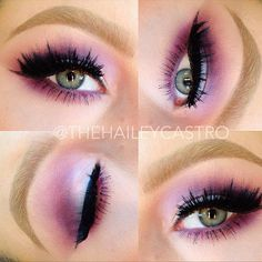 Mac Hepcat and Fig 1 in crease with Dazzlelight on the lid. Mac Liquidlast liner and False Lash mascara. Eylure lashes 205  @Hailey Castro