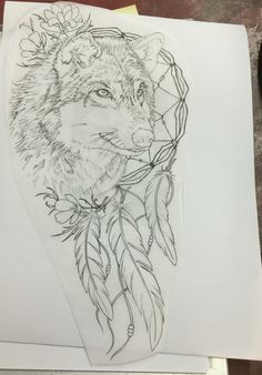 My amazing Wolf Dream Catcher tattoo