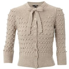 NW3 Fleet Bobble Cardigan, Oatmeal Melange (1,770 MXN) ❤ liked on Polyvore featuring tops, cardigans, sweaters, outerwear, casacos, knitwear, lambswool cardigan, brown cardigan, oatmeal cardigan and 3/4 sleeve tops