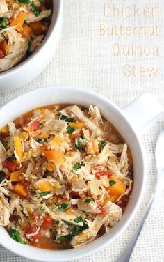 Healthy Chicken Butternut Squash Quinoa Stew in Instant Pot