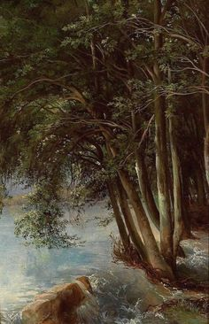 Calame, Alexandre (b,1810)- Trees at River's Bank