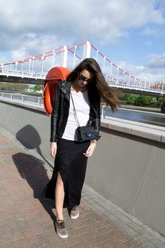 Chanel mini flap leo print vans maxi skirt streetstyle