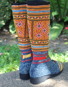 Womens Boho Boots In Ethnic Hmong Embroidery by SiameseDreamDesign