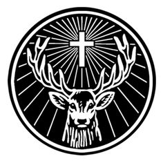 4 X 4 inch black and white iconic stag sticker.