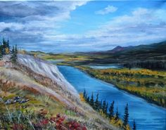 Pelly River from the Dena Cho Trail, painting by artist Jackie Irvine