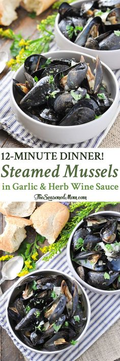 You can pull together a batch of Steamed Mussels in Garlic and Herb Wine Sauce for a simple and fresh seafood dinner that's on the table in just 12 minutes! Steamed Mussels in Garlic and Herb Wine Sauce Kate Passarelli Healthy recipes Yo Seafood Appetizers, Seafood Dinner, Fresh Seafood, Seafood Shop, Wine Recipes, Cooking Recipes, Mussel Recipes, Cooking Mussels, Shellfish Recipes
