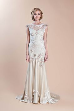 "Claire Pettibone ""Viola"" F2012 gown.  Embroidered tulle and silk with lace. I don't generally put wedding gowns into the I dream file but this one is so amazing and I am a huge fan of Pettibone."