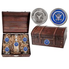 Military Gift Boxed Set US Navy USN Wood Chest Capitol Decanter Set with Glasses $198.00