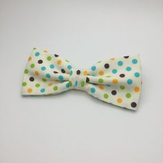 Brown Green Yellow Orange Cyan Polka dot Spot Mens Bow tie Pre tied Wedding Women Teen Boy Baby Toddler Children Bowtie for Groom Groomsmen by GloiberryBowtie on Etsy https://www.etsy.com/listing/260251581/brown-green-yellow-orange-cyan-polka-dot