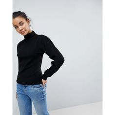 Fashion Union Polo Neck Jumper (£28) ❤ liked on Polyvore featuring tops, sweaters, black, going out tops, polo neck sweater, roll neck sweater, roll neck jumper and party jumpers
