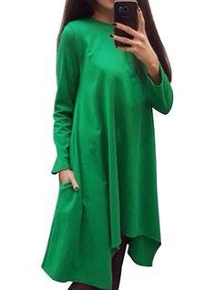 Casual Long Sleeved Dress - Asymmetrical Hemline / Loose Fit