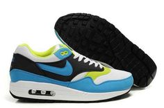 size 40 b9bc3 7a0dc Authentic Mens Nike Air Max 1 White Black Blue Glow Volt Shoes Nike Air Max  87