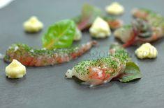 Gambero rosso, con polvere di spinaci e maionese allo zenzero #cucina #foodie #food #ricette #recipe #cibo #trapignatteesgommarelli