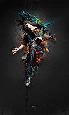 "Digital Artwork by ""Maciej Mizer"" Dance Images, Dance Photos, Rhythm Art, Dance Wallpaper, Hipster Background, Shadow Art, Street Dance, Photoshop Tutorial, Graphic Design Inspiration"