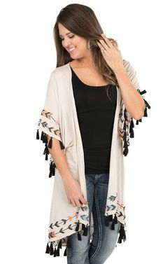 Judith March Cream with Arrow Print Embroidery and Tassels Short Sleeve Cardigan | Cavender's