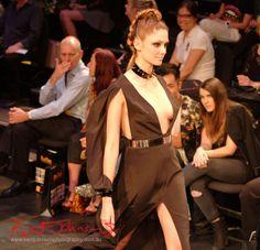 Will Brunton - Black Dress, Raffles College 2012 Graduate Fashion Show Carriageworks, Everleigh Sydney. Photo by Kent Johnson.
