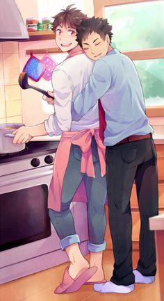 iwaizumi, oikawa, kitchen, iwa has just returned from a job interview, http://kuikune.tumblr.com/post/126989832438/iwaoi-commission-for-lysambre-j-iwa-has-just