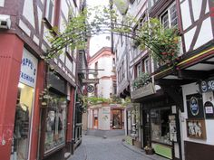 One of the many winding streets in the main plaza in Bernkastel, Germany.