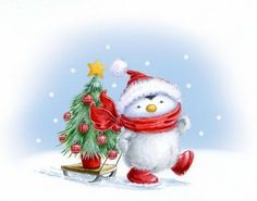 pingouin neige noel sapin deco noel hiver paysage hiver