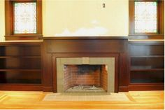 Mantle with built ins & windows