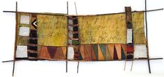"""Alice Vander Vennen: Whispers in the Wind  - 25"""" X 50""""; found, embellished textiles, new fabrics, African mud cloth, willow branch, copper wire, painted canvas"""