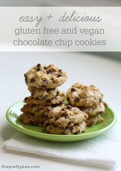 Easy and delicious recipe for classic gluten free and vegan chocolate chip cookies. This dough freezes well, too!