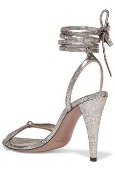 Chloé - Mike Metallic Cracked-leather Sandals - Silver - IT