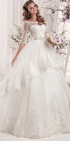 Marvelous Tulle & Satin Bateau Neckline A-line Wedding Dresses With Lace Appliques Popular Wedding Dresses, Top Wedding Dresses, Perfect Wedding Dress, Designer Wedding Dresses, Bridal Dresses, Wedding Gowns, Tulle Wedding, Cathedral Wedding Dress, Wedding Dress Silhouette