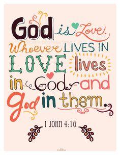 Christian  Art Print. 1 John 416. God is by aLittleBirdTweetme, $7.00