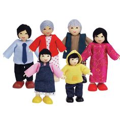 Set of 6 Asian Doll Family Figures, all with bendy arms and legs which can be positioned to sit or stand. Ideal for use in dolls' houses or any miniature world environment. Dollhouse Family, Dollhouse Dolls, Family Set, Happy Family, Toy Playhouse, Hape Toys, Chloe, Kindergarten, People Figures