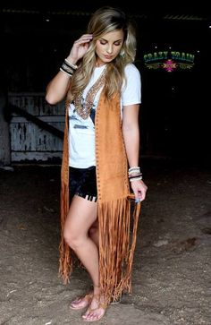 Fun and flirty vest with fringe from Crazy Train One size fits most