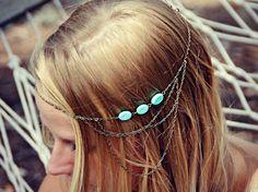 chaîne de tête de Boho, headband chaine, bandeau turquoise, serre-tête en métal…
