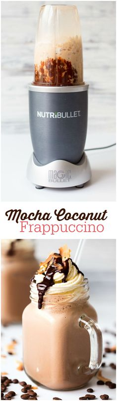 Oil on Mocha Coconut Frappuccino - tastes like the one at Starbucks. Warning - they are addicting!Mocha Coconut Frappuccino - tastes like the one at Starbucks. Warning - they are addicting! Yummy Drinks, Yummy Food, Café Chocolate, Chocolate Desserts, Mocha Recipe, Nutribullet Recipes, Blender Recipes, Vegetarian Chocolate, Healthy Chocolate Milkshake
