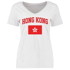 Hong Kong Women's Flag Slim Fit T-Shirt - White - $21.99
