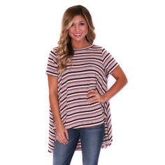 LUXE STRIPE TEE PINK  IMPRESSIONS  $29.00