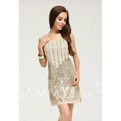 $13.58 Sexy Style Short Sleeves Sleeveless Polyester Sequin Dress For Women